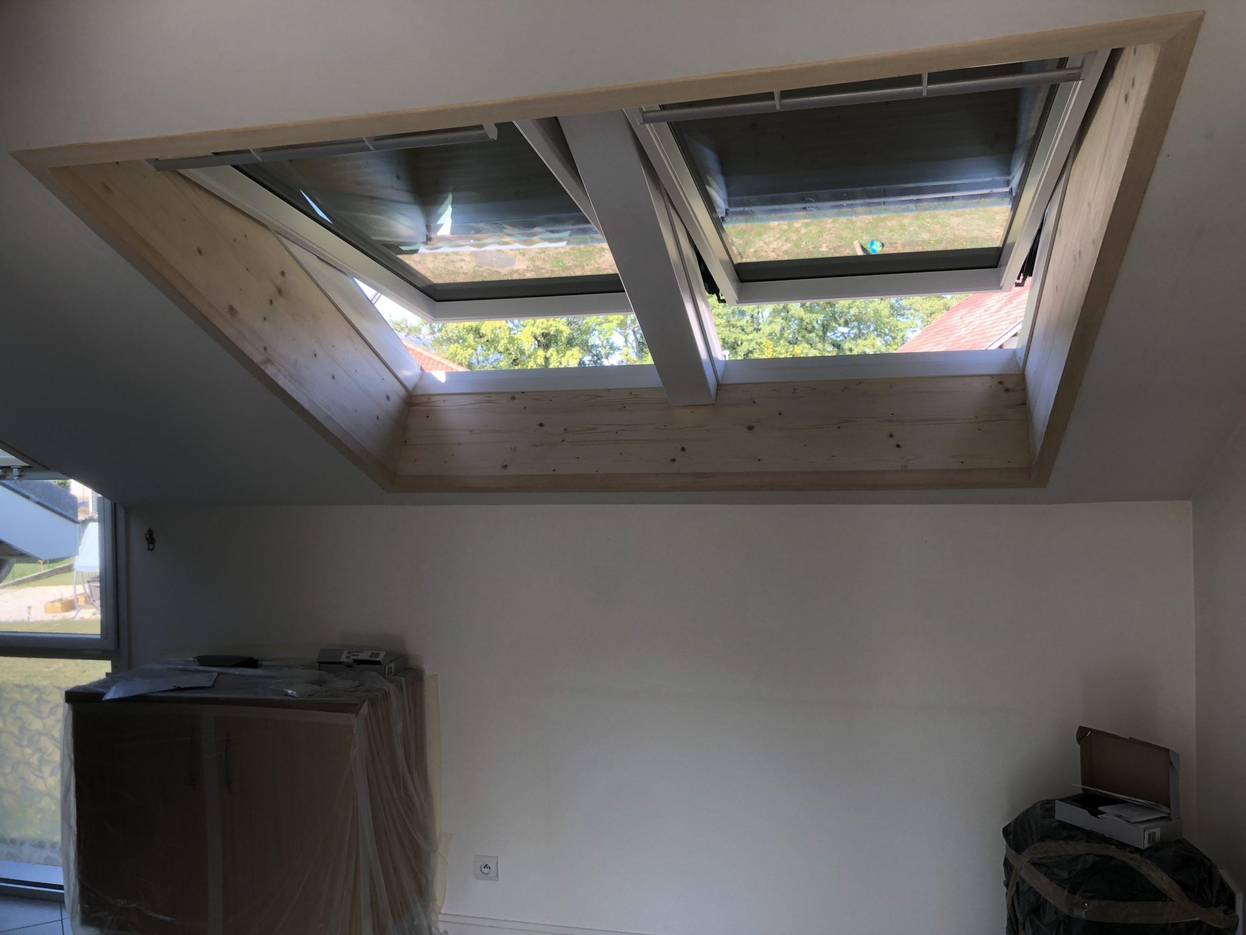 Création d'une verrière et pose de fenêtres de toit VELUX à Thoiry